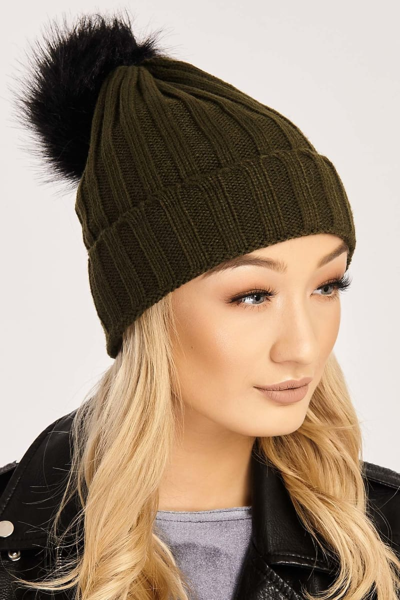 khaki knitted black faux fur pom pom hat