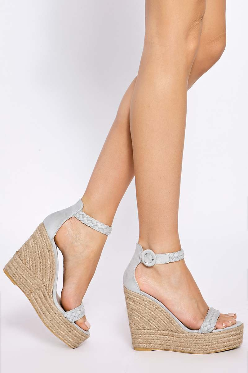 grey plaited ankle suede wedges