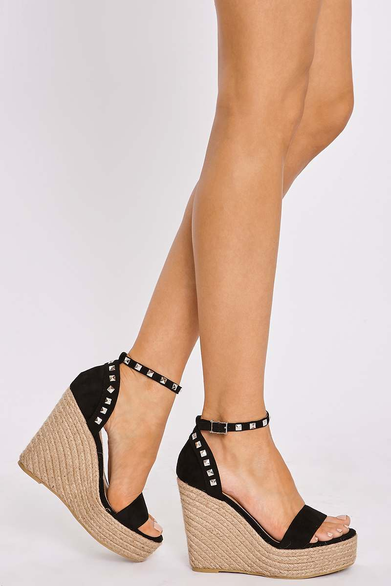 black faux suede studded wedge espadrilles