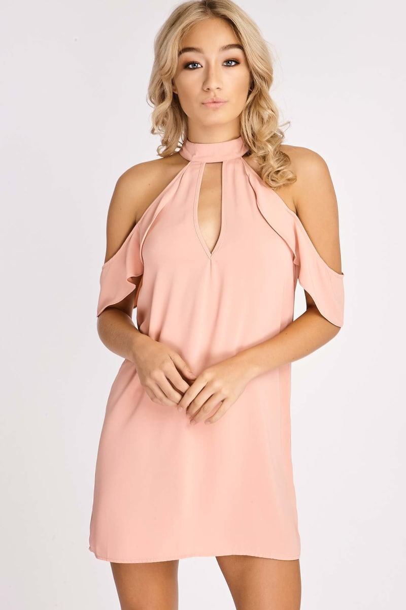 peach high neck frill sleeve dress