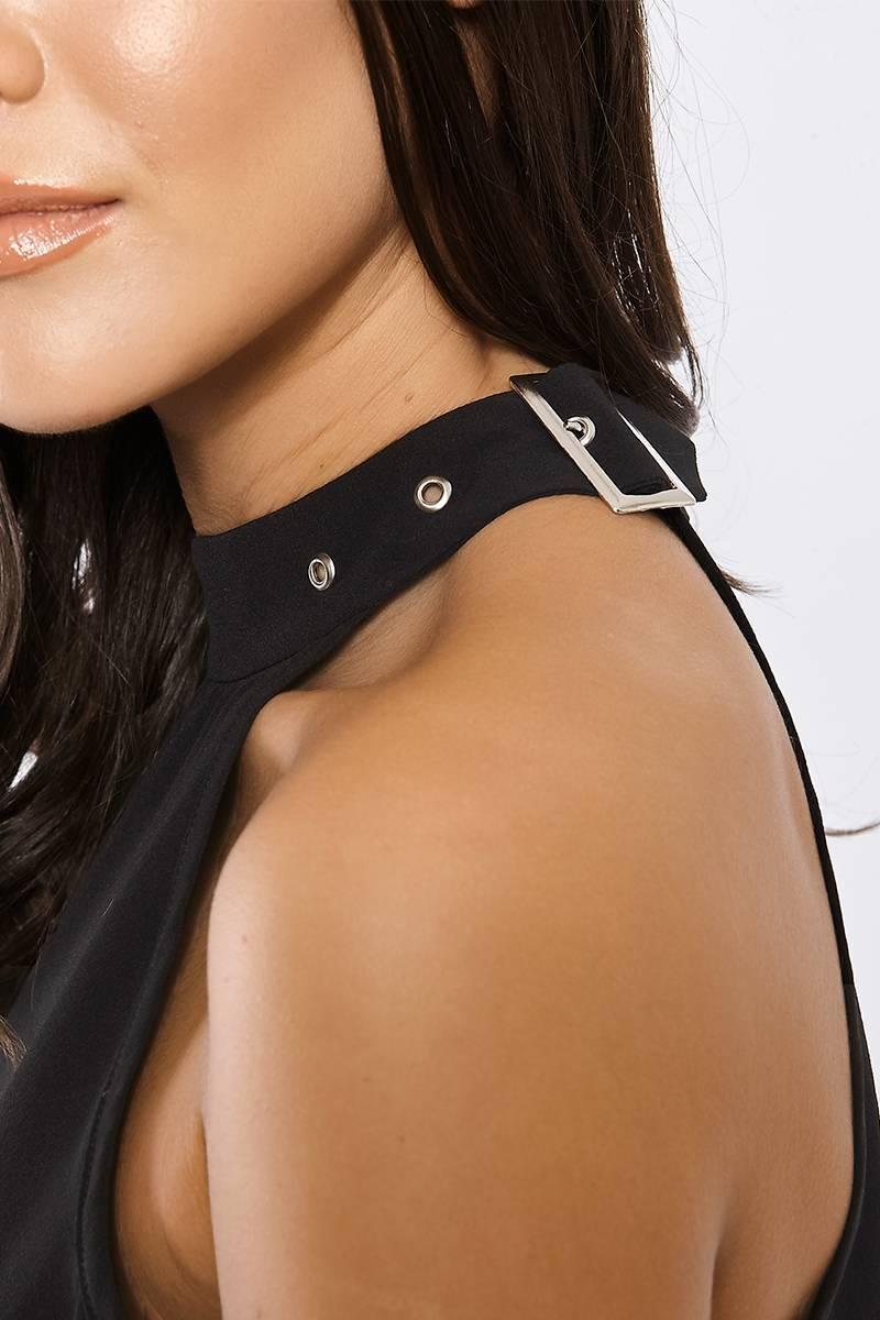 AVARIE BLACK BUCKLE CHOKER COLD SHOULDER DRESS