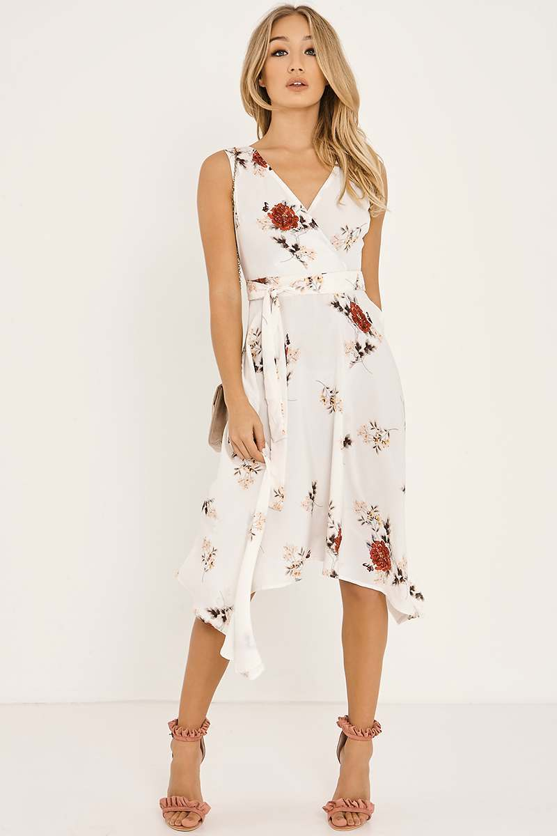 cream floral wrap front midi dress