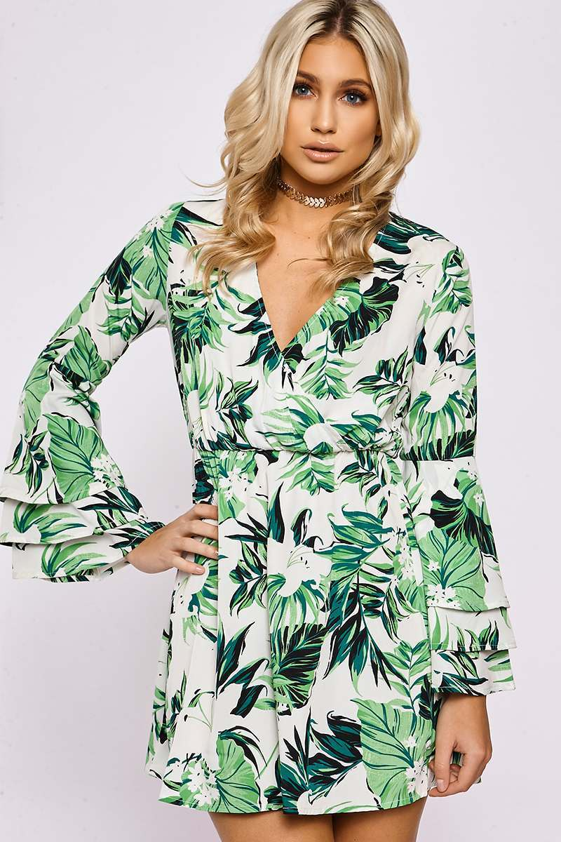 MCKENZIE WHITE LEAF PRINT FLARED SLEEVE DRESS