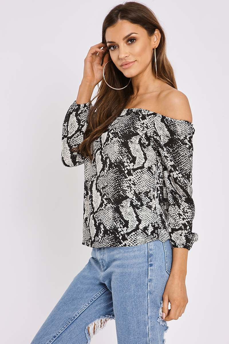 black snake print bardot top