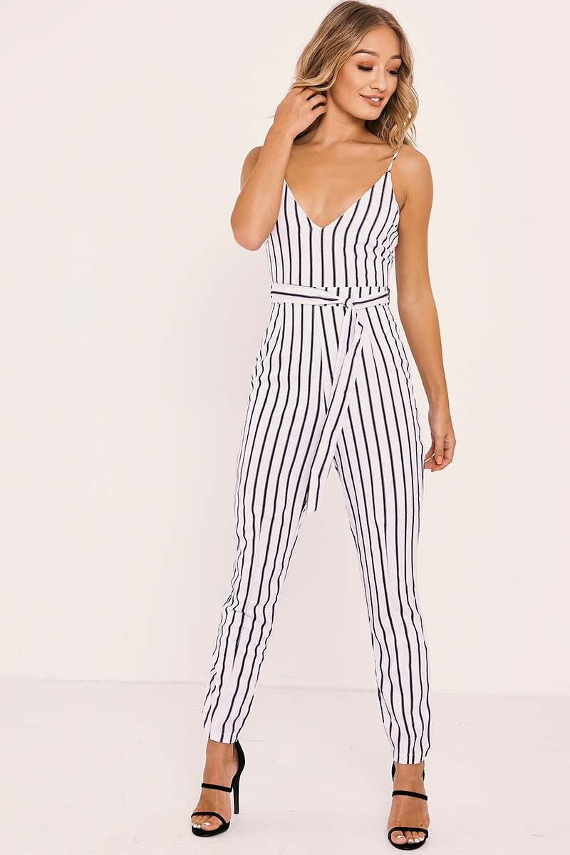 white striped plunge belted jumpsuit