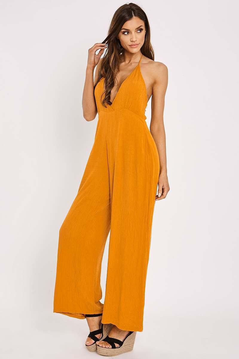 orange halterneck plunge jumpsuit