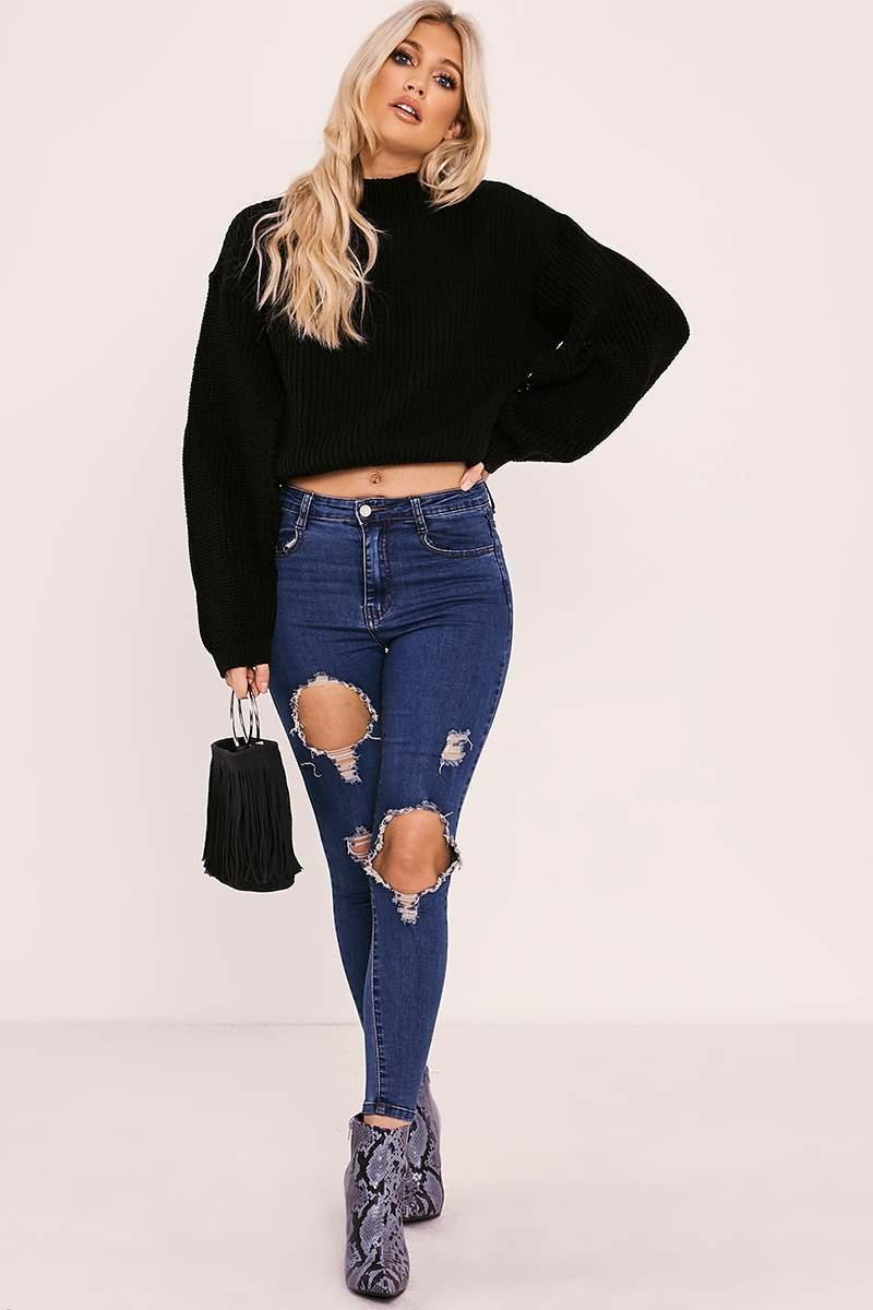 black high neck split sleeve knitted jumper