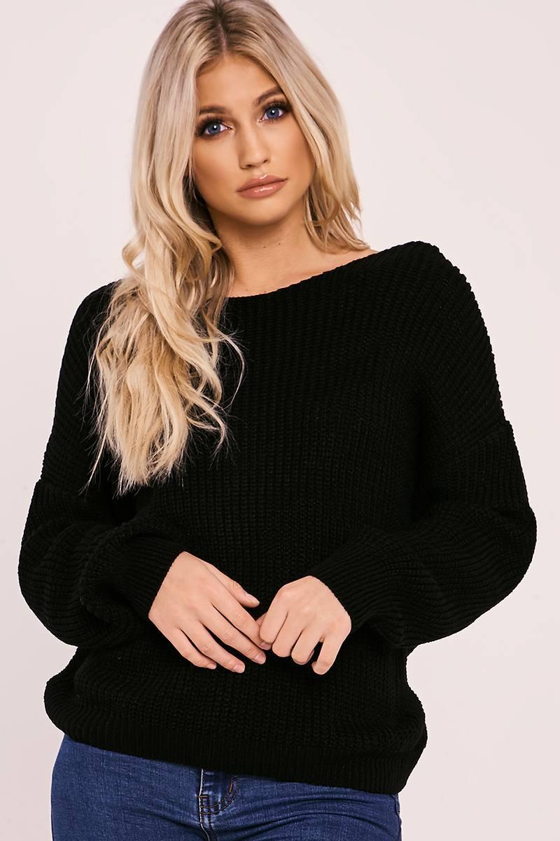 black twist back knitted jumper
