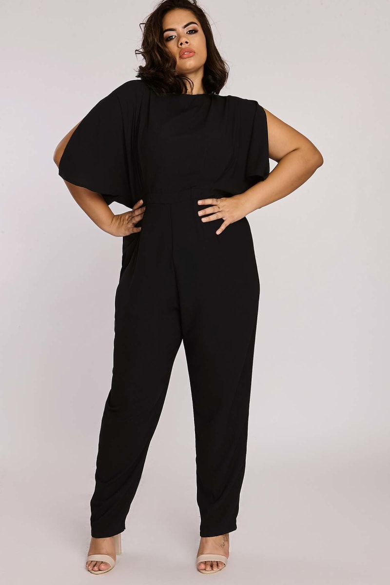 Curve Binky Black Split Flare Sleeve Tailored Jumpsuit