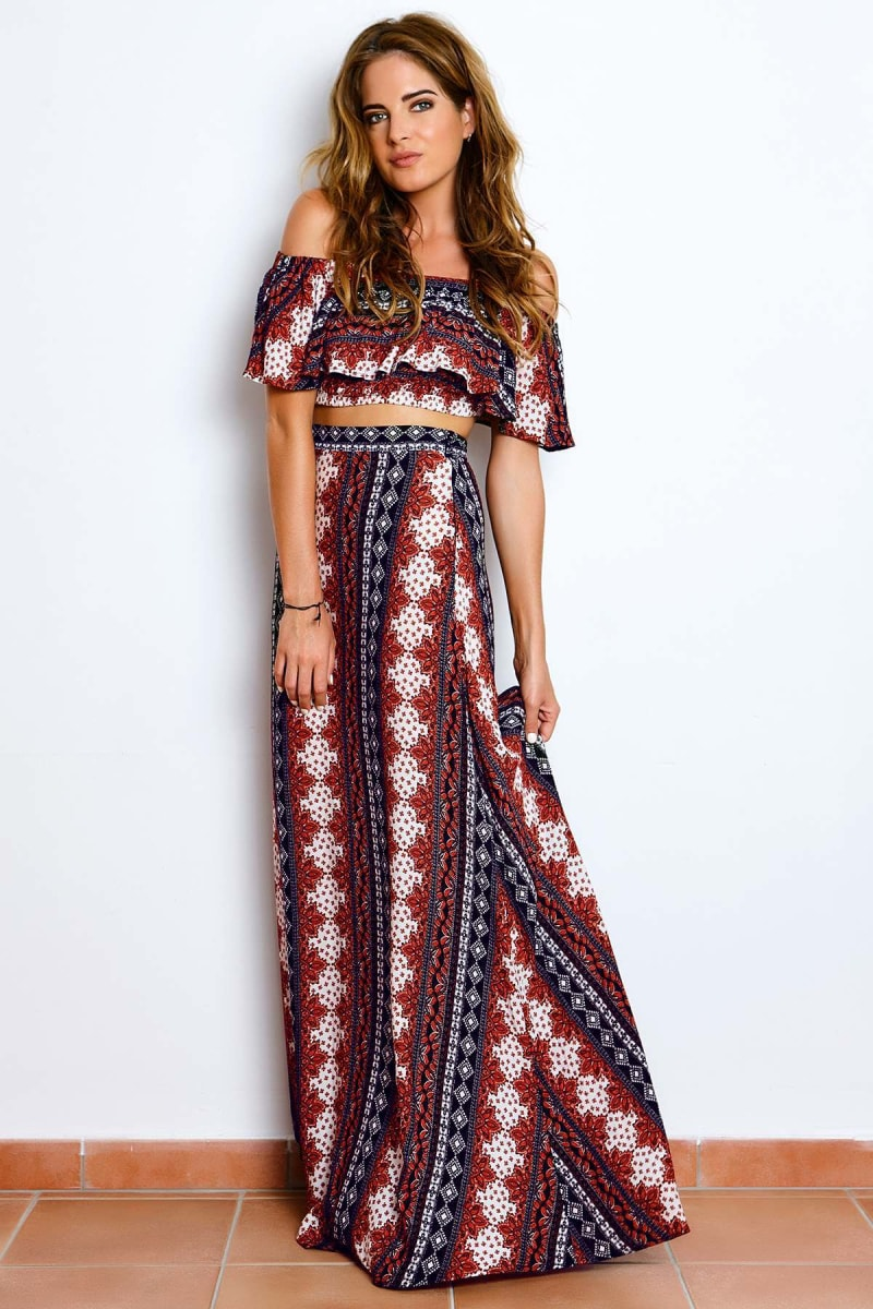 BINKY NAVY & RED TRIBAL MAXI SKIRT