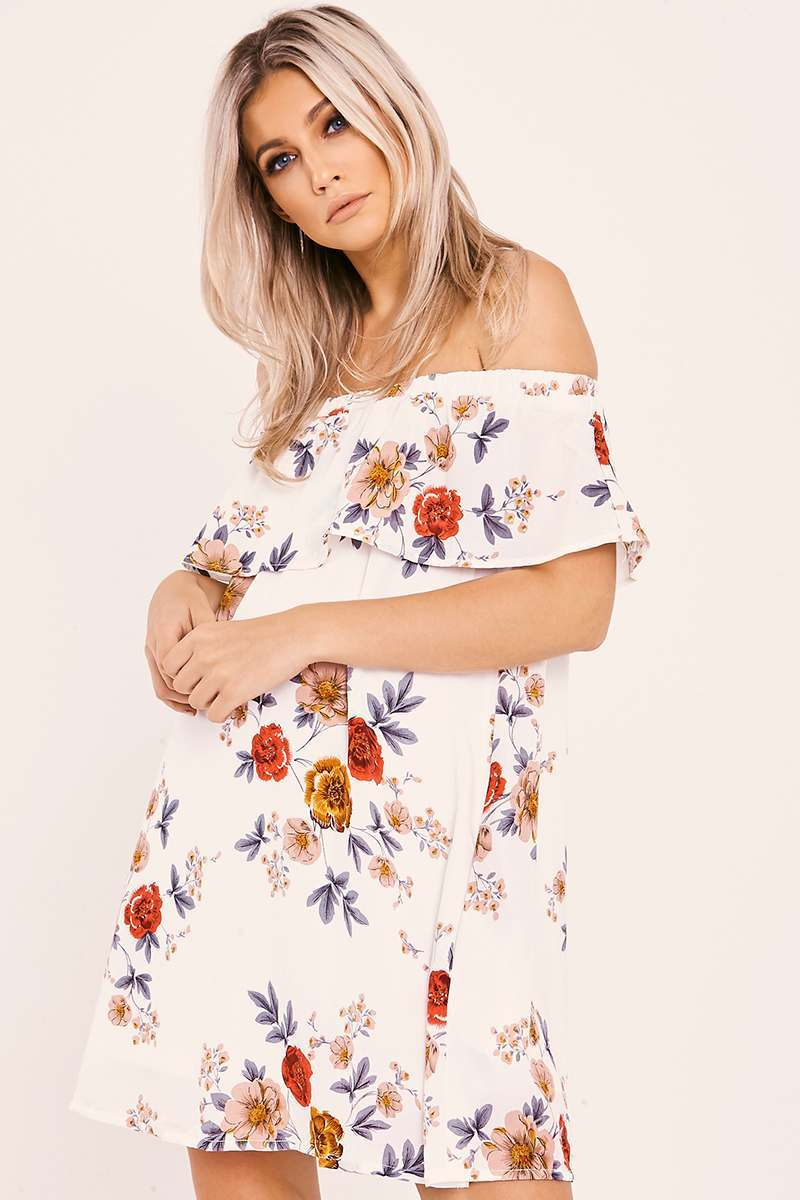 white floral bardot frill dress