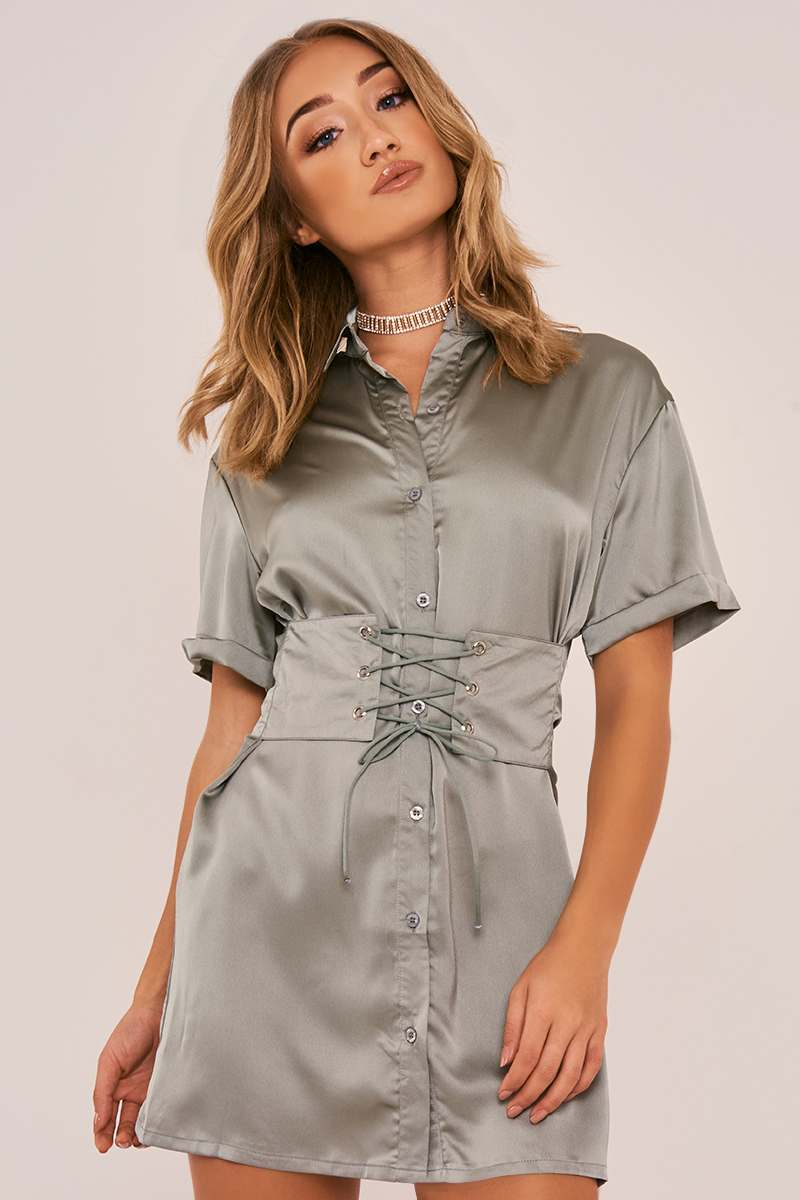 LORIA GREEN CORSET LACE UP SILKY SHIRT DRESS