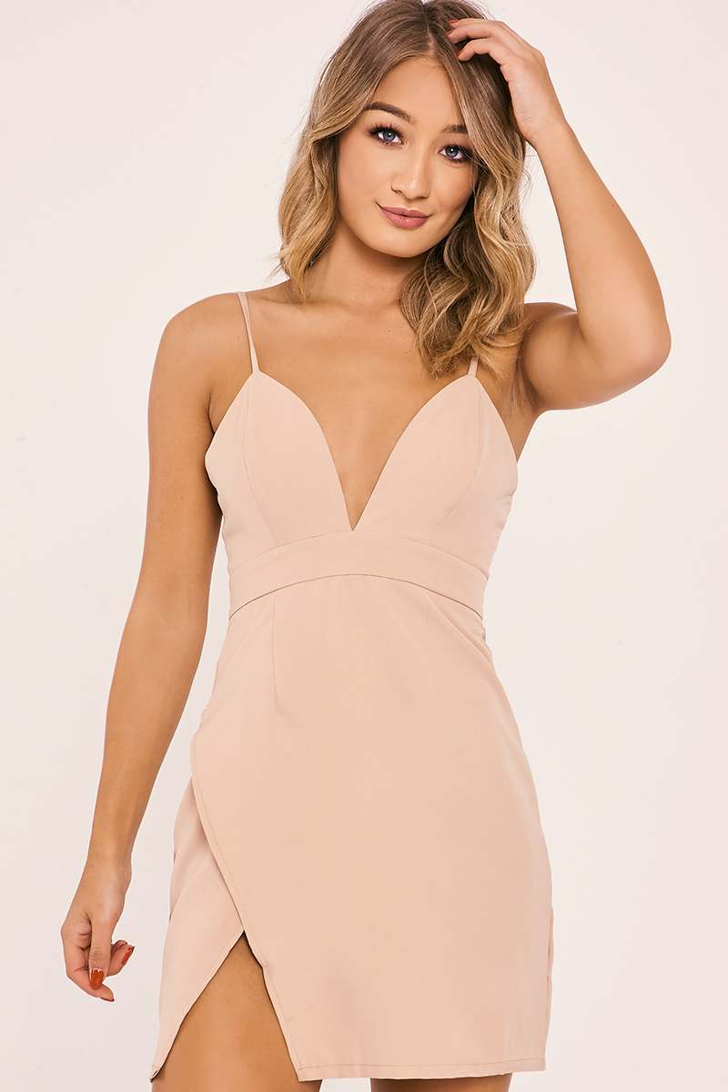 nude strappy plunge split side dress