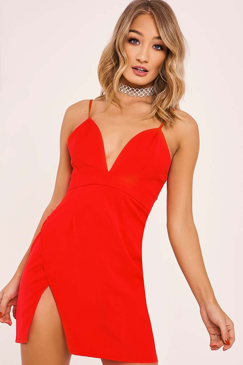 AMBERLEE RED STRAPPY PLUNGE SPLIT SIDE DRESS