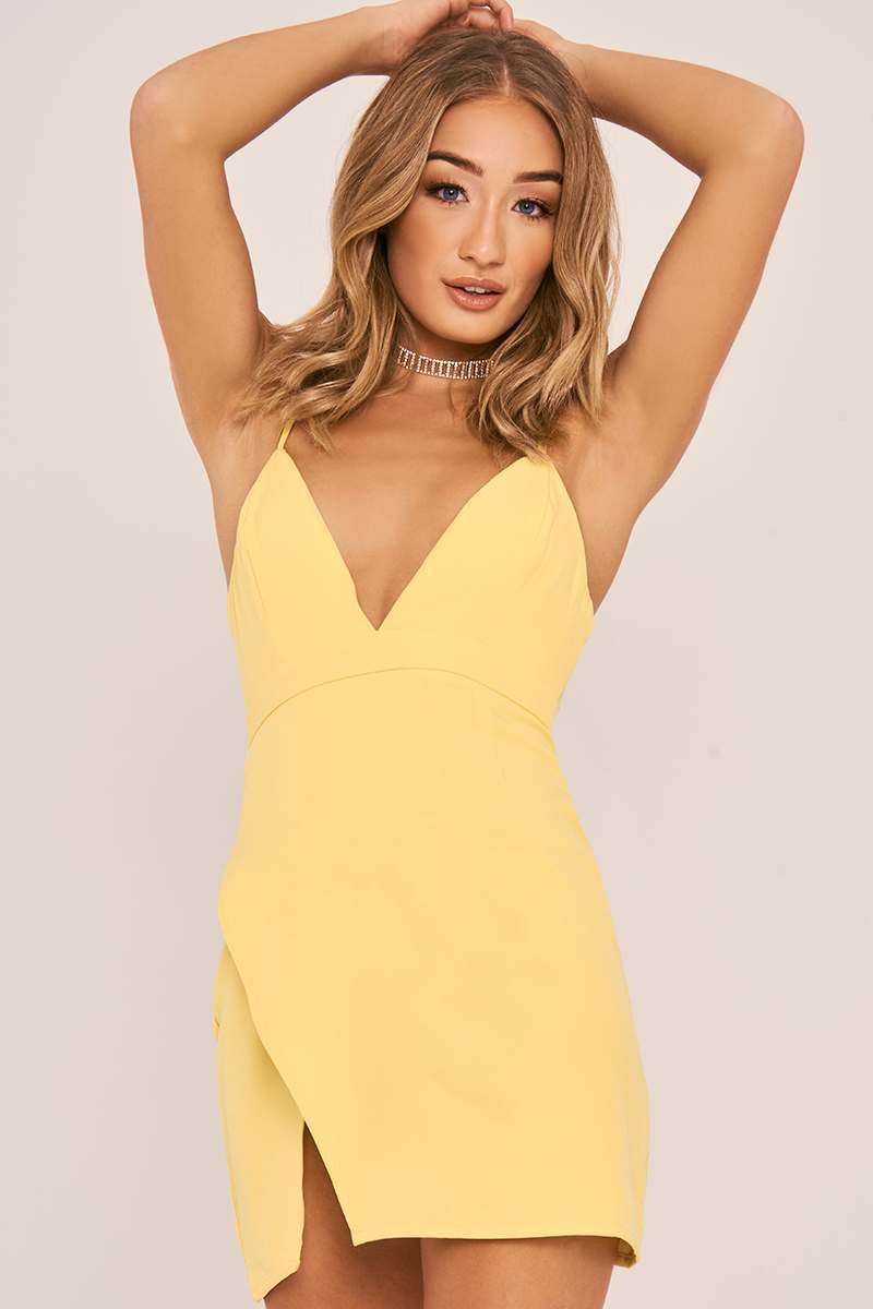 yellow strappy plunge split side dress