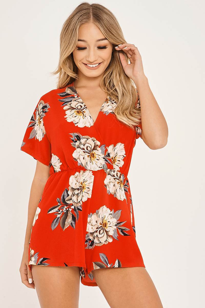 red floral print wrap front playsuit