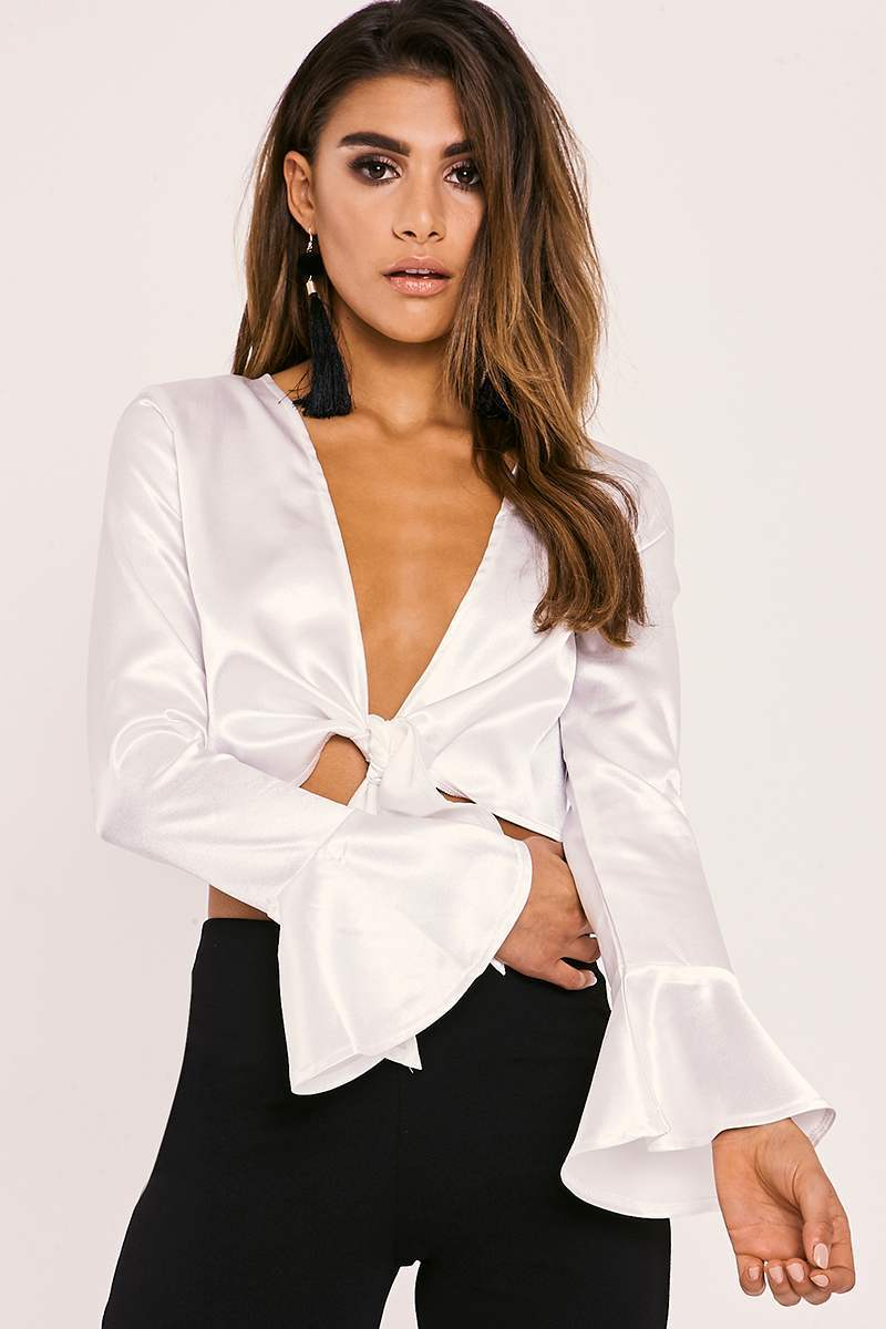 LAYLIA WHITE WRAP FRONT SHIRT