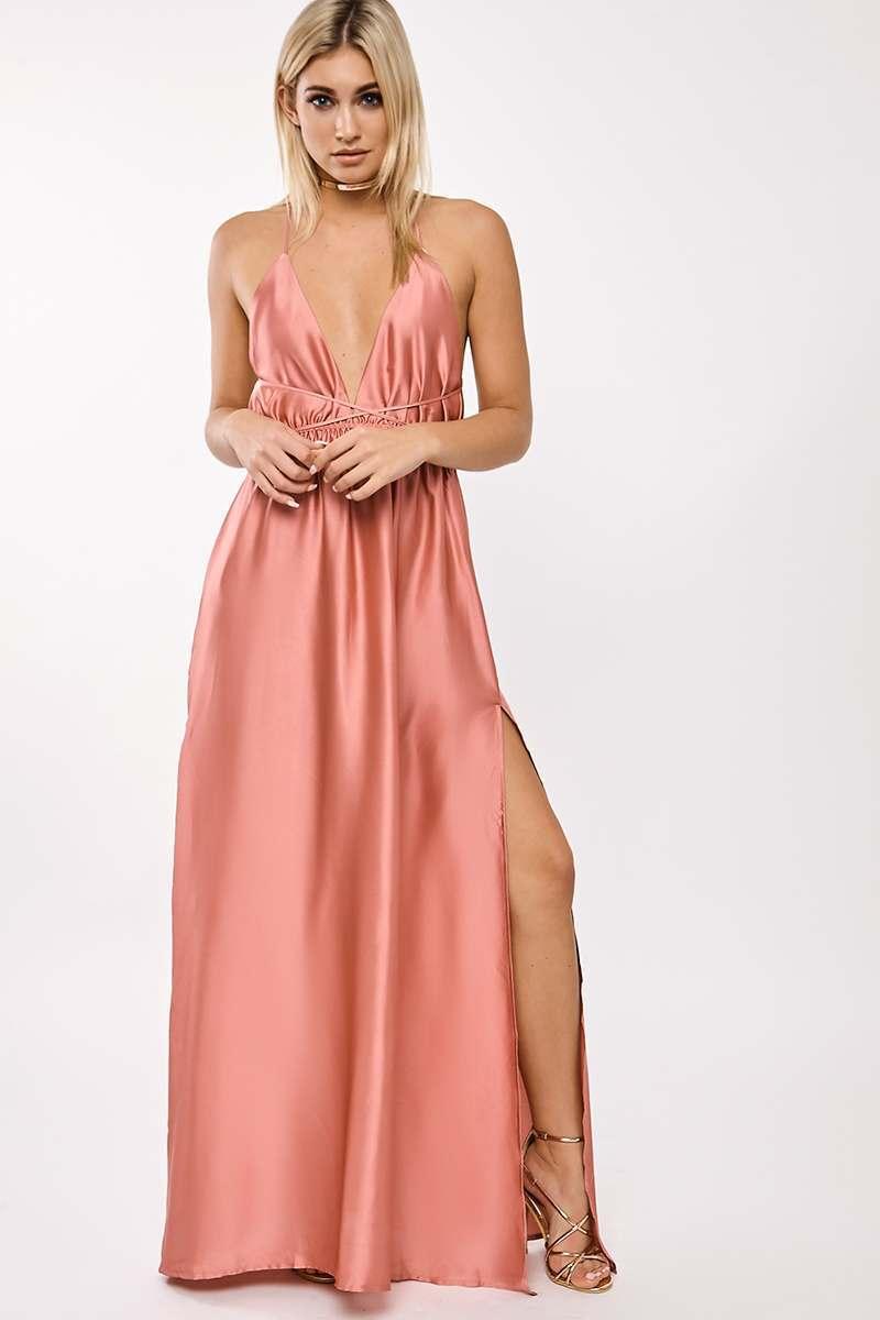 BINKY ROSE SATIN PLUNGE WRAP MAXI DRESS