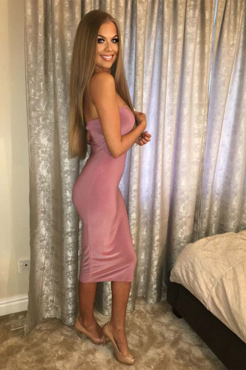 REILLY MAUVE STRAPLESS BANDEAU MIDI DRESS