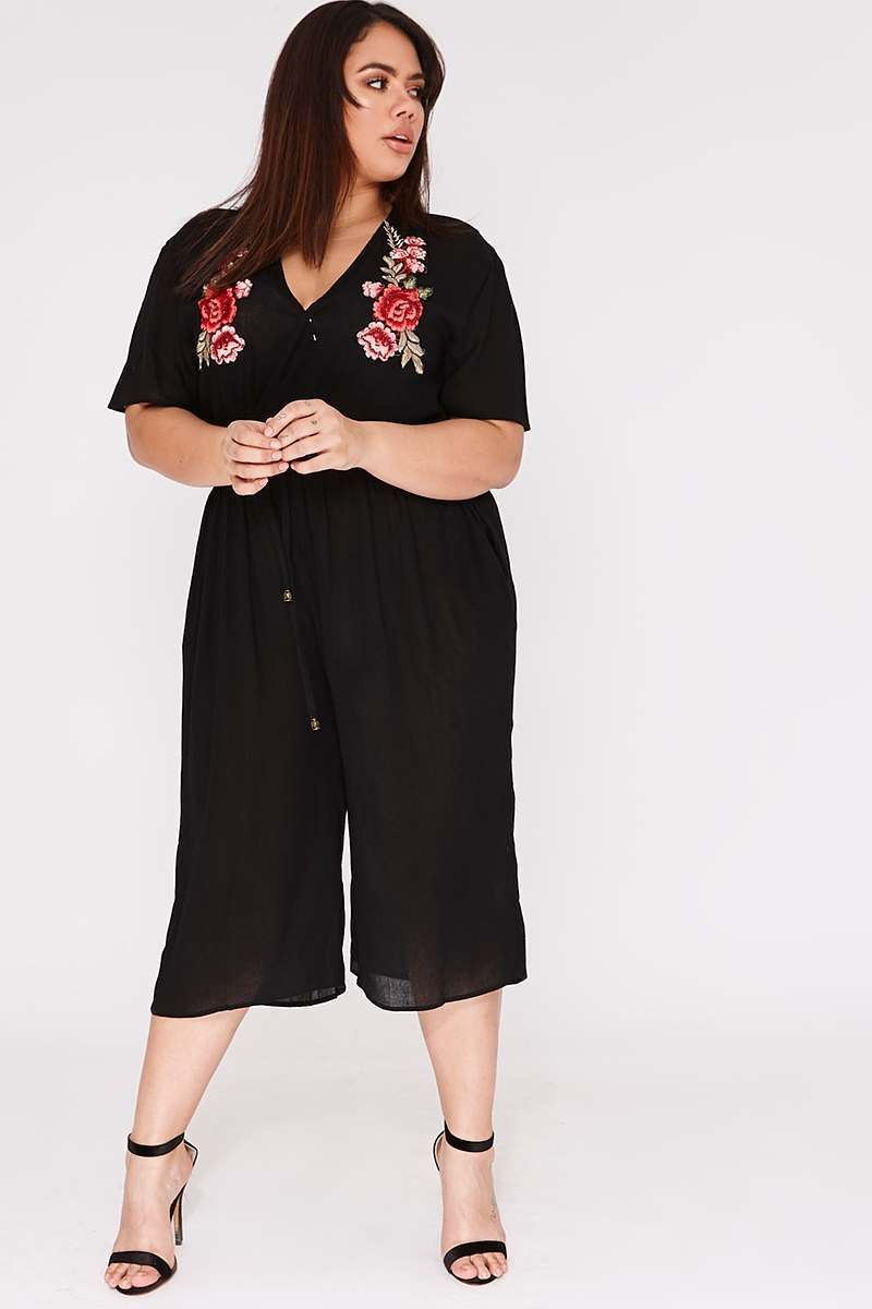 CURVE IRINI BLACK CHEESECLOTH WRAP FRONT APPLIQUE JUMPSUIT