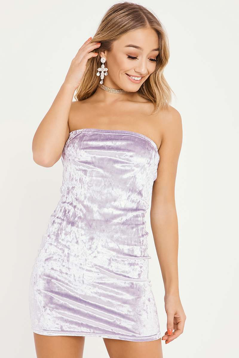 lilac velvet bandeau mini dress