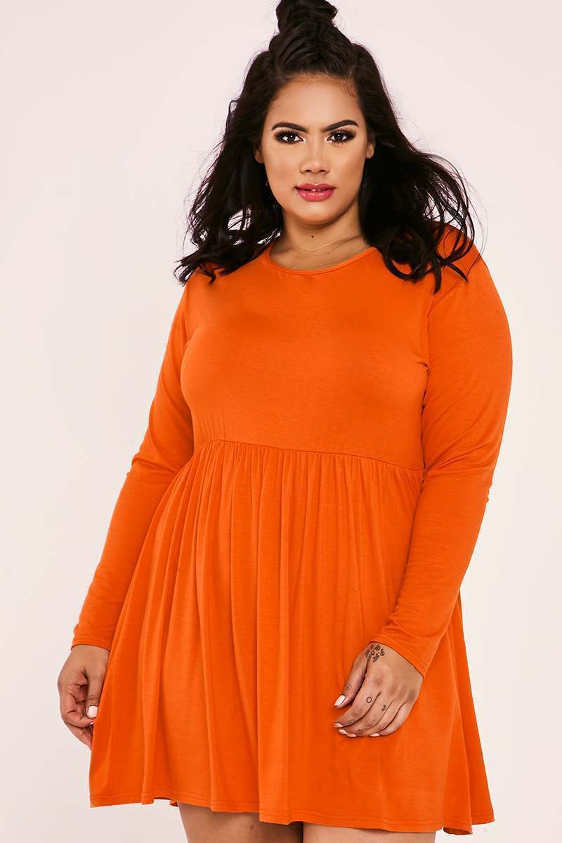 CURVE MARIEE ORANGE JERSEY SMOCK SKATER DRESS