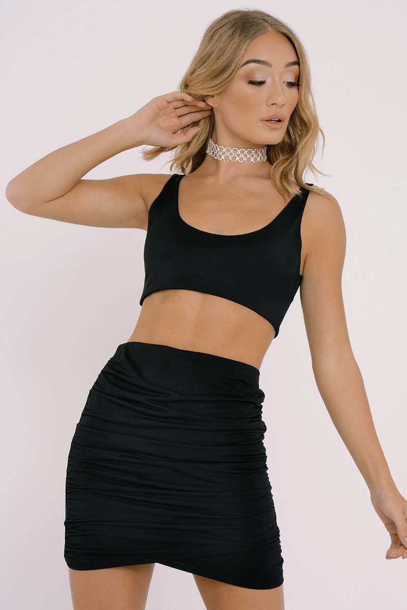 ROSELYN BLACK SLINKY RUCHED WRAP SKIRT