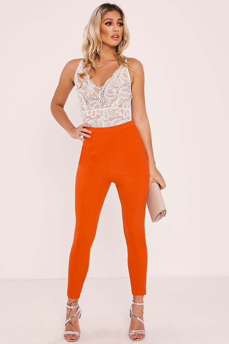orange tapered trouser