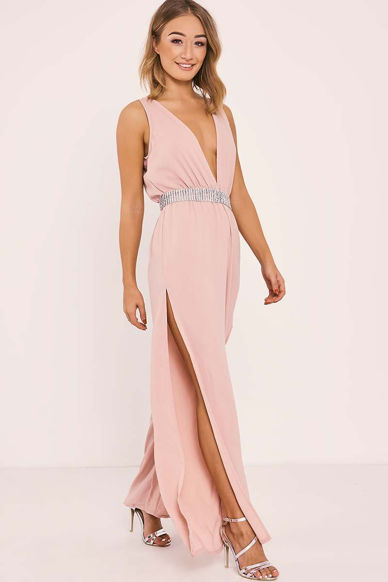 nude side split plunge jumpsuit