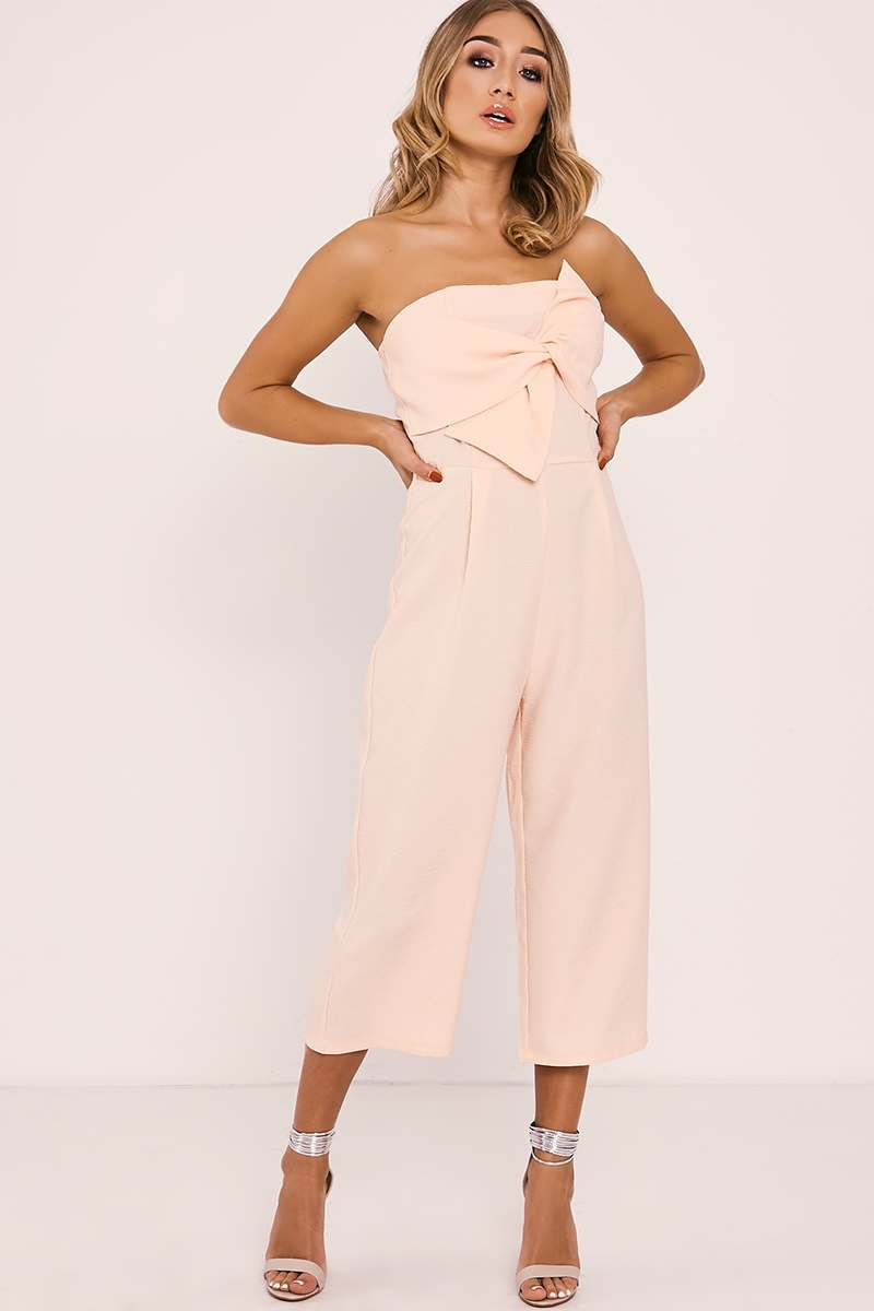 nude textured bow front culotte jumpsuit