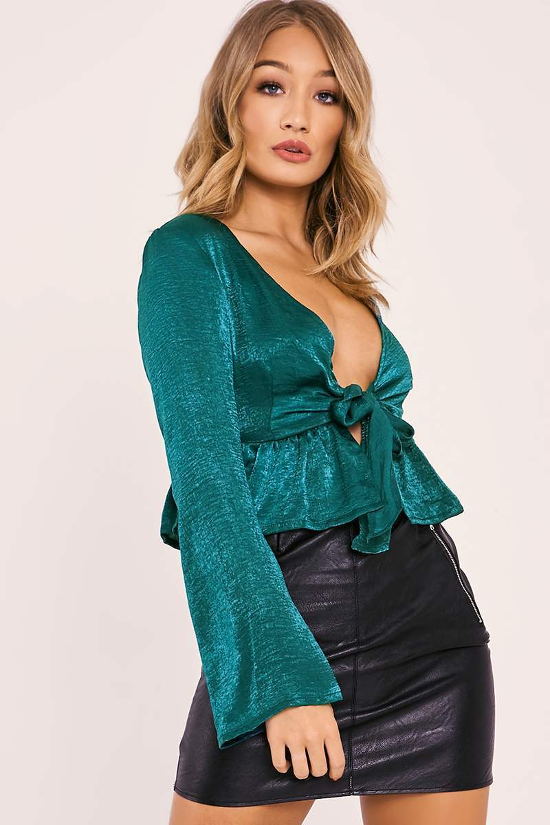 green satin tie front crop top
