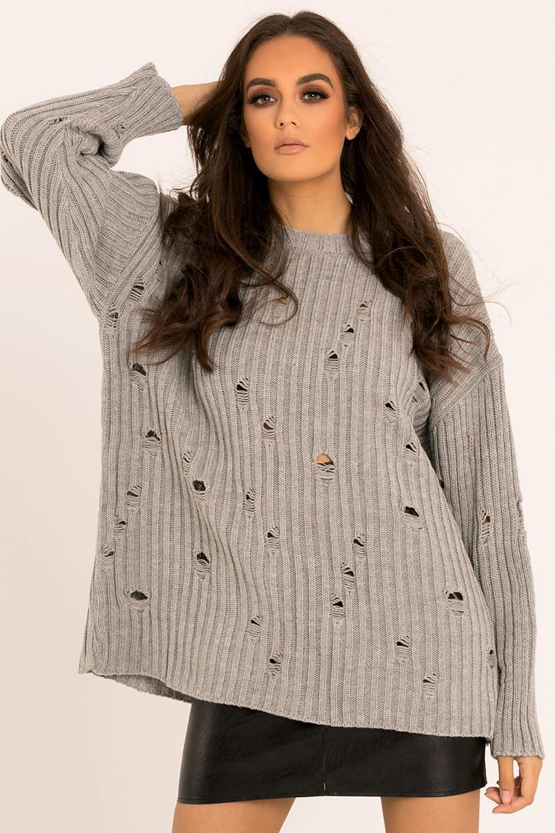 grey distressed oversized jumper