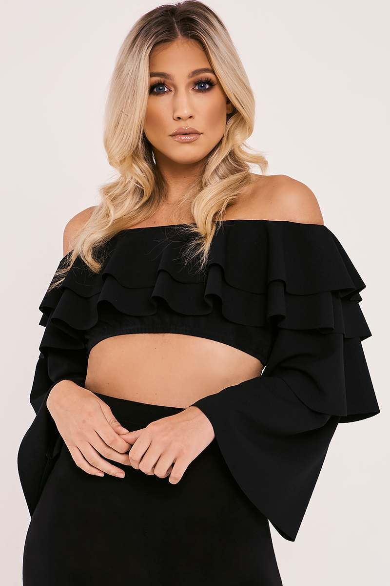 black tiered frill bardot crop top