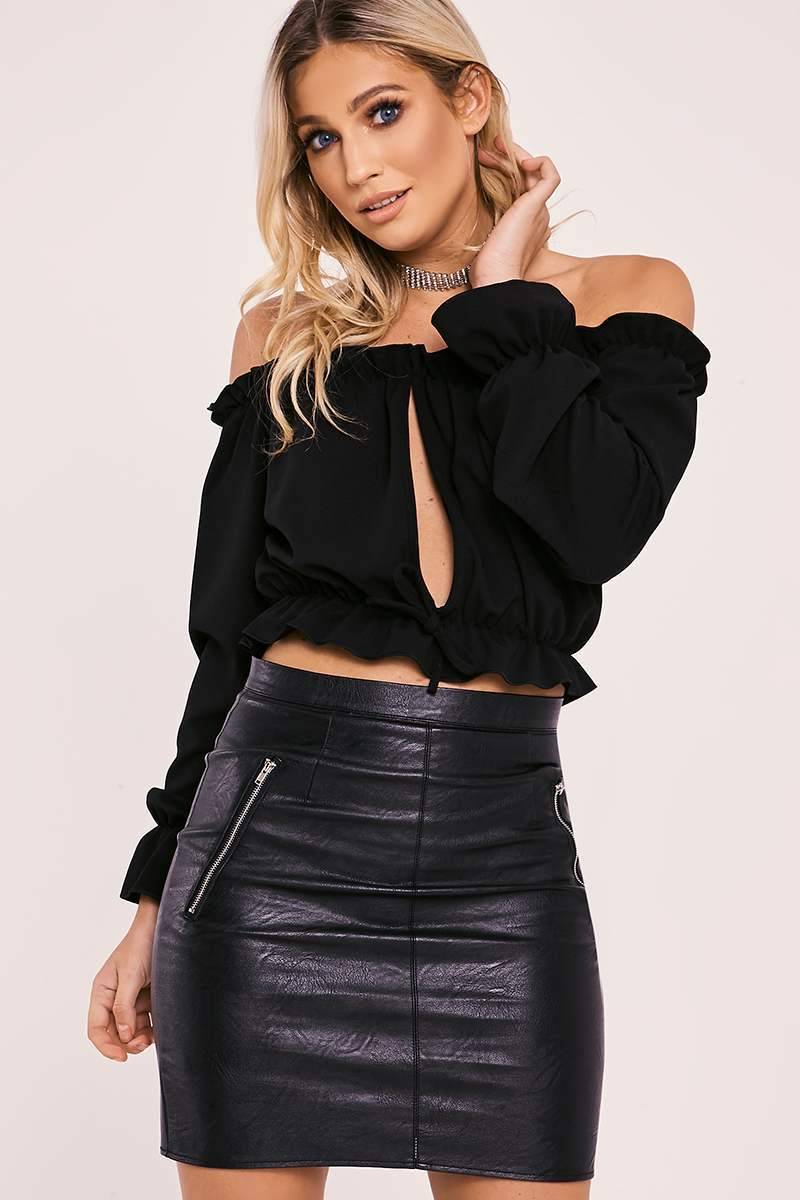 black long sleeve frill bardot top