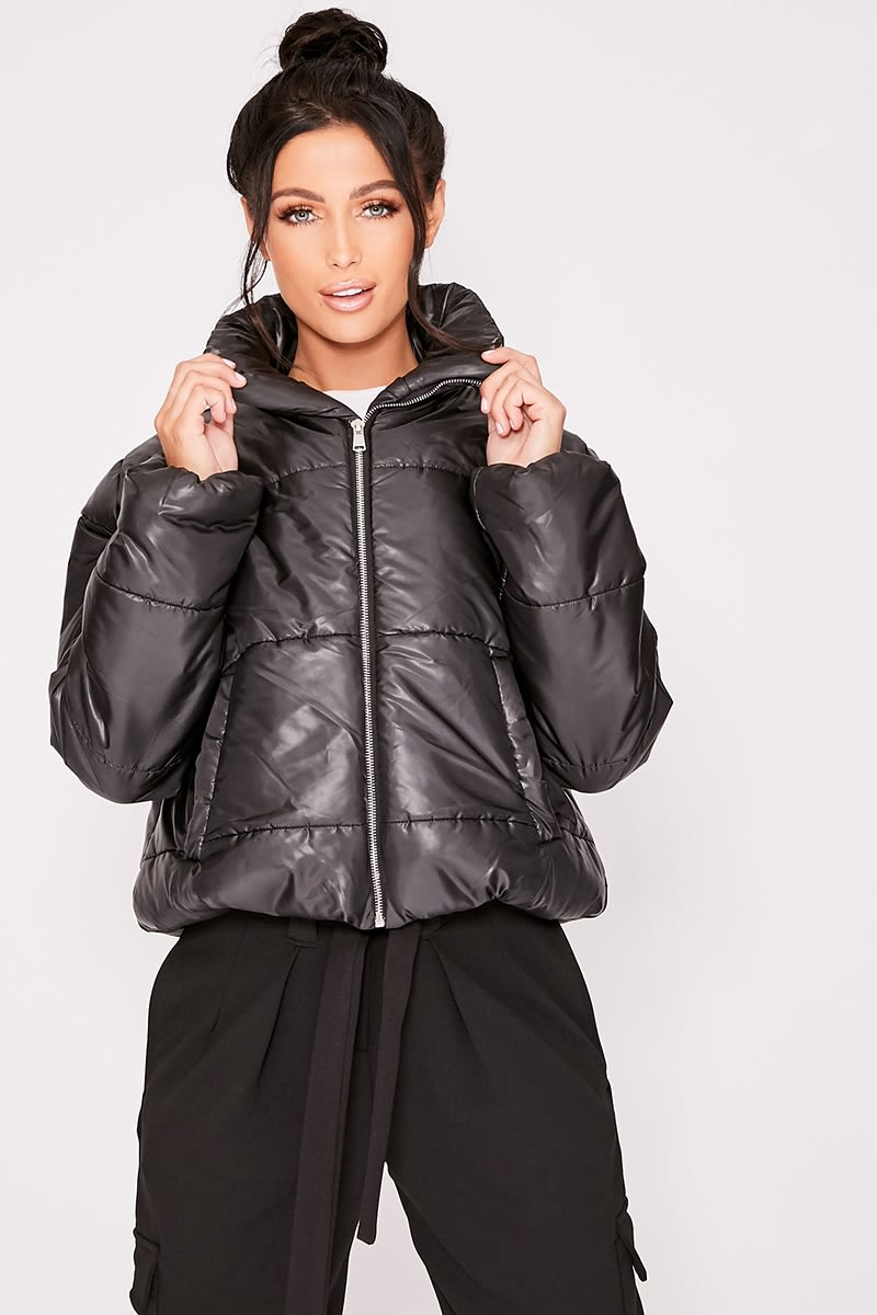 NAILAH BLACK CROPPED PADDED PUFFER COAT