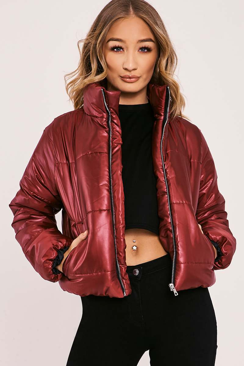 NAILAH BURGUNDY CROPPED PADDED PUFFER COAT