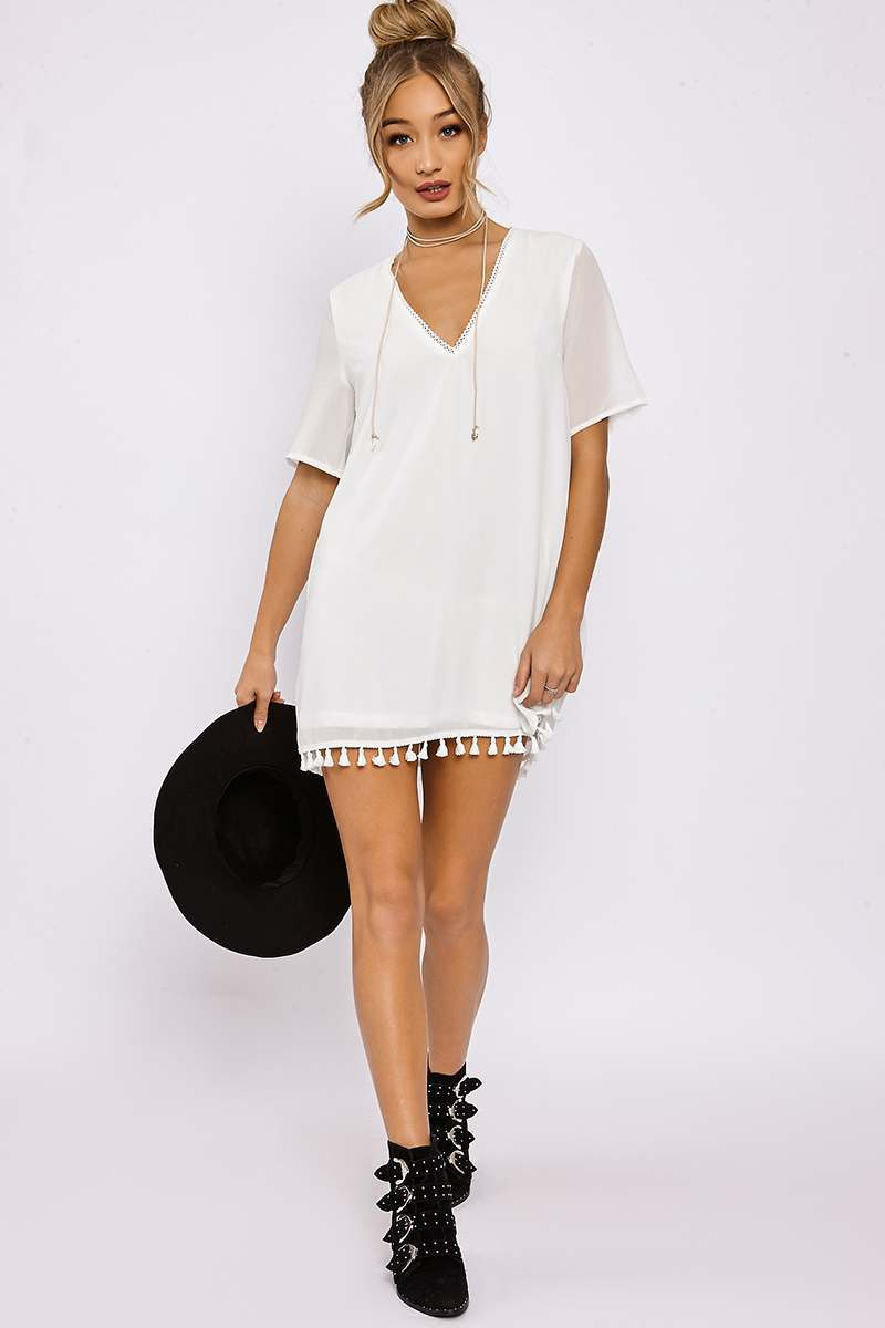 white tassle trim shift dress
