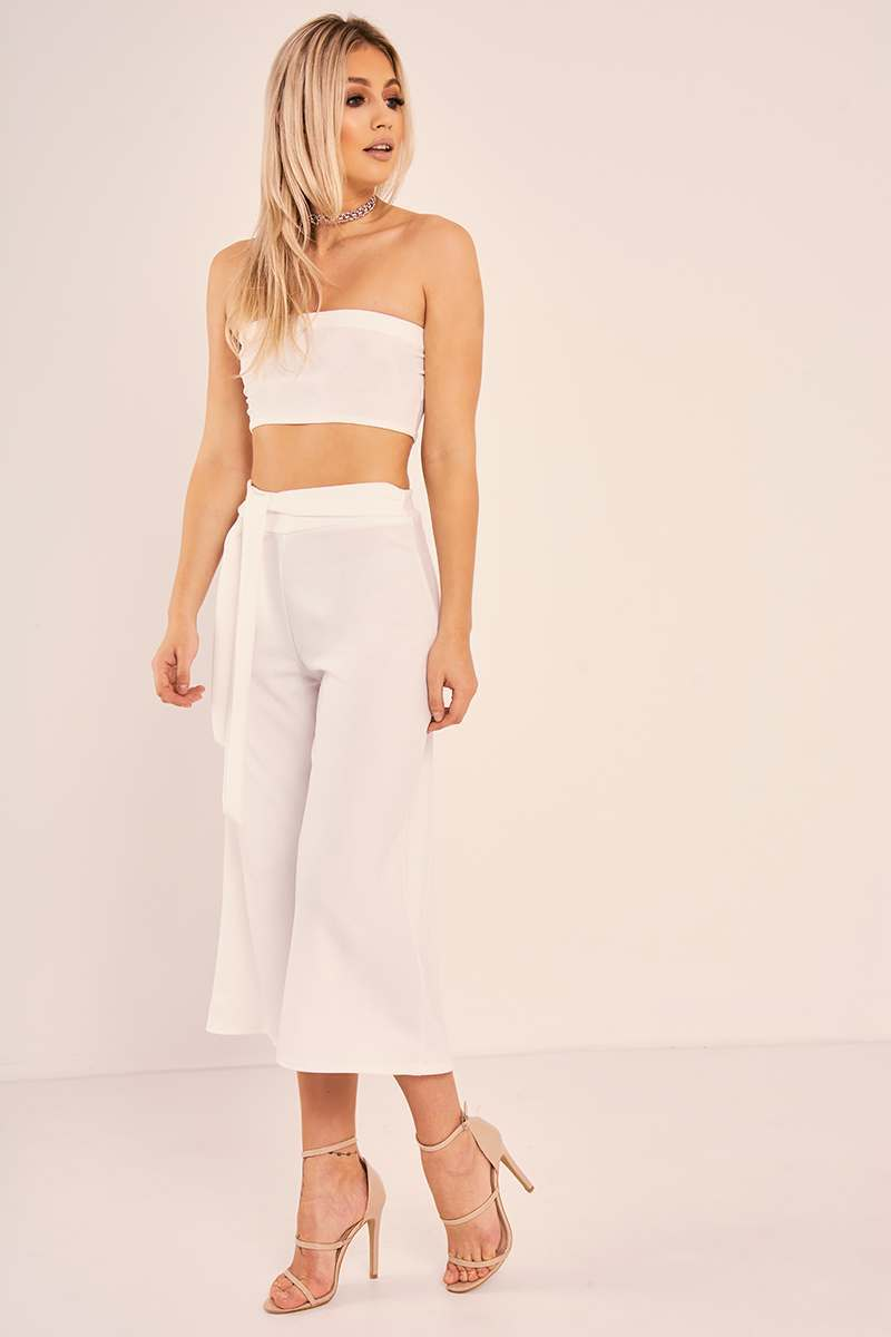 white bandeau crop top and culottes co ord