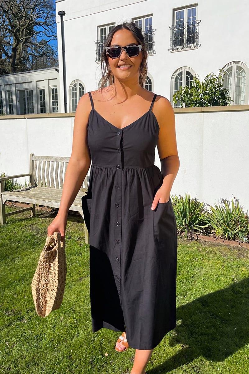 Jac Jossa Black Button Through Poplin Midi Dress   In The Style ...