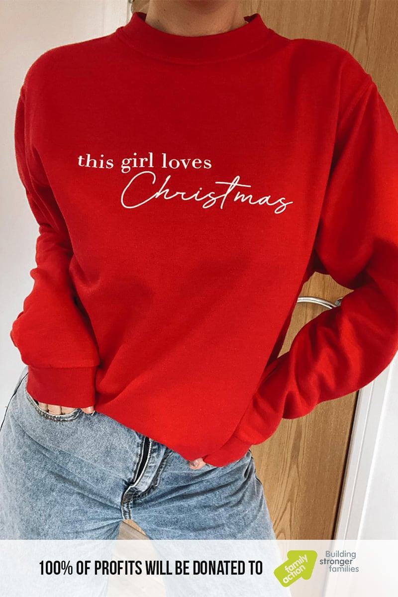 "JAC JOSSA RED ""THIS GIRL LOVES CHRISTMAS"" CHRISTMAS SWEATSHIRT"