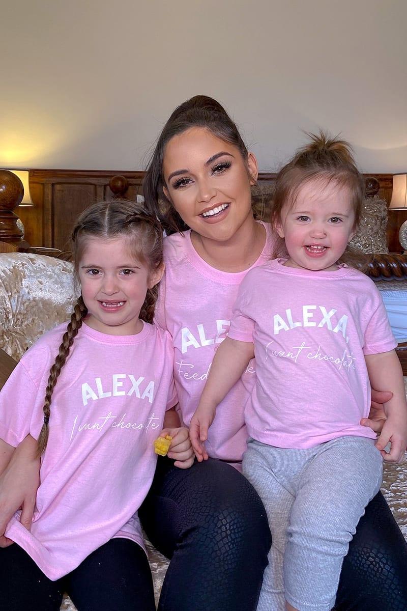 KIDS PINK 'ALEXA I WANT CHOCOLATE' OVERSIZED T SHIRT