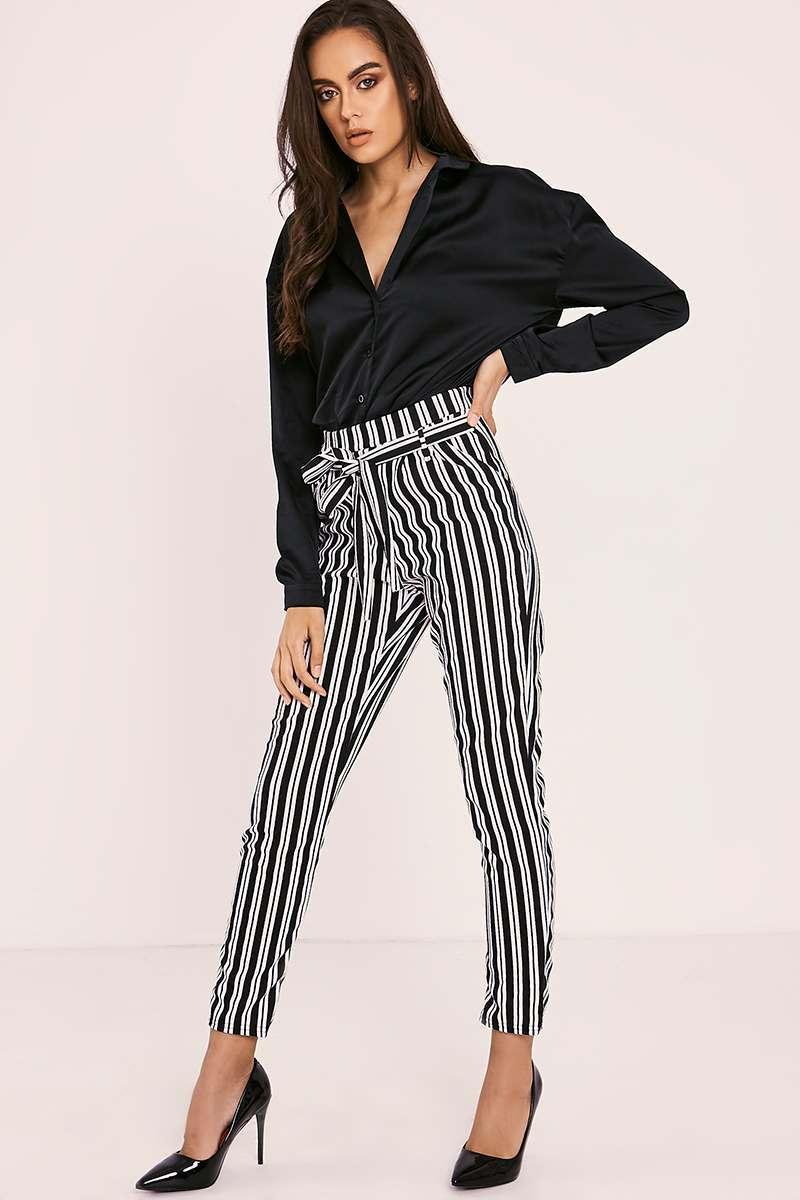 black stripe skinny trousers