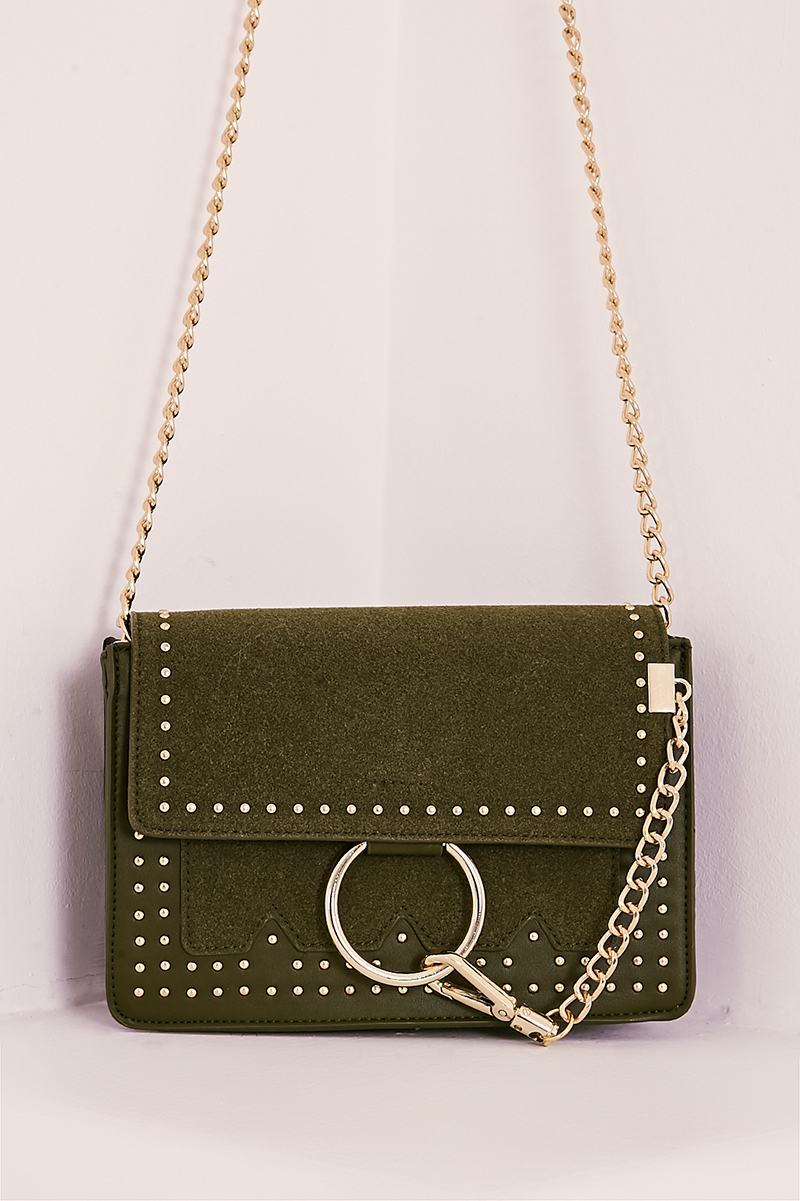 faux suede ring clasp studded bag