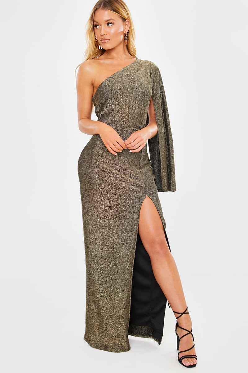 GOLD GLITTER LUREX ONE SHOULDER SPLIT FRONT MAXI DRESS