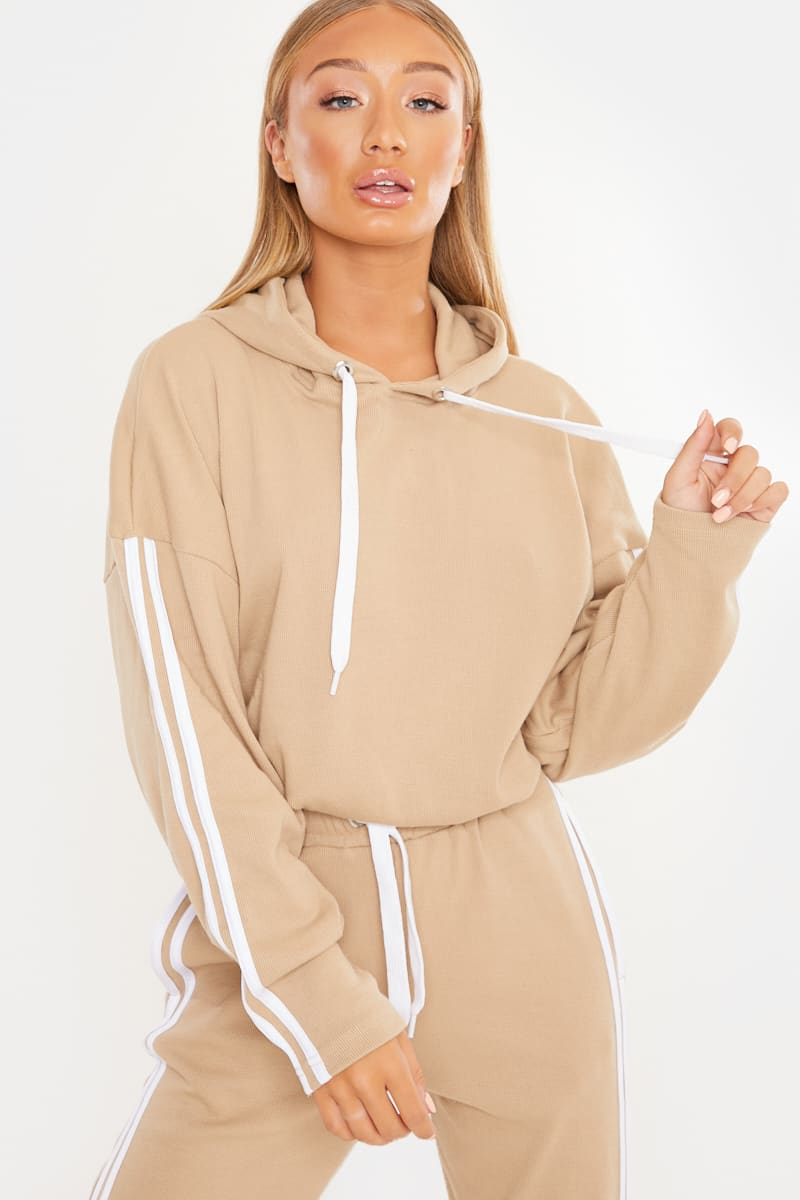 CAMEL CROPPED STRIPE SIDE CO-ORD HOODIE