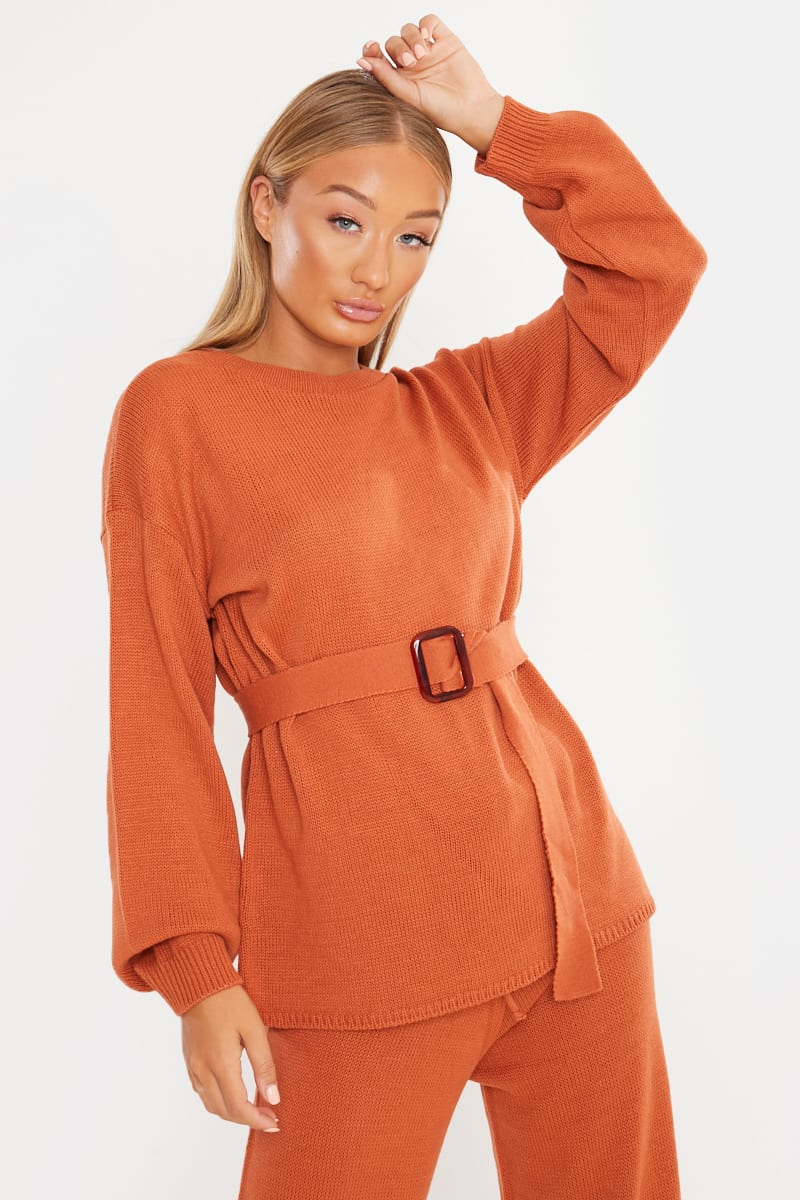 RUST ORANGE PLAIN STITCH OVERSIZED BELTED CO-ORD JUMPER