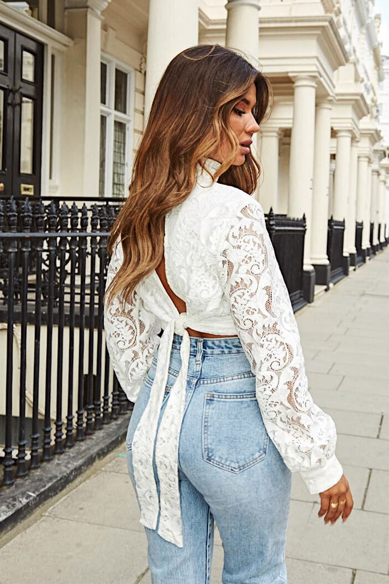 WHITE LACE HIGH NECK TIE BACK TOP
