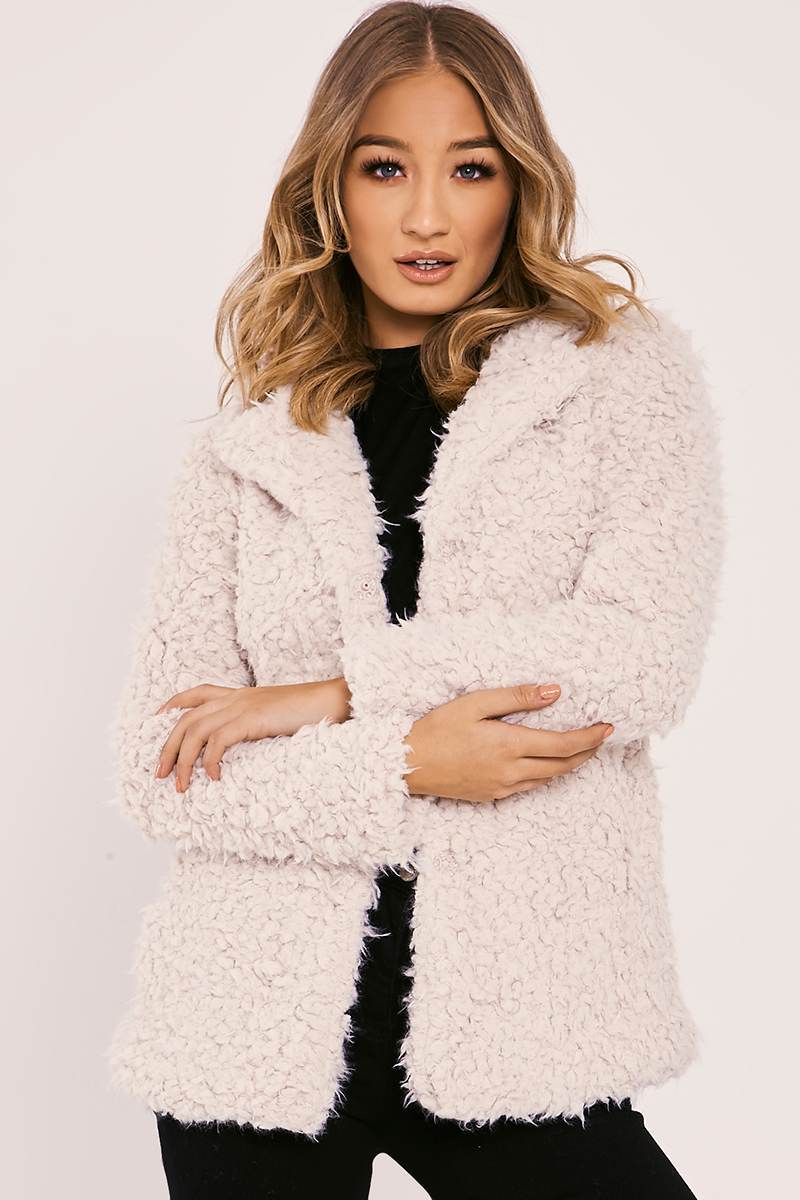 cream fluffy longline coat