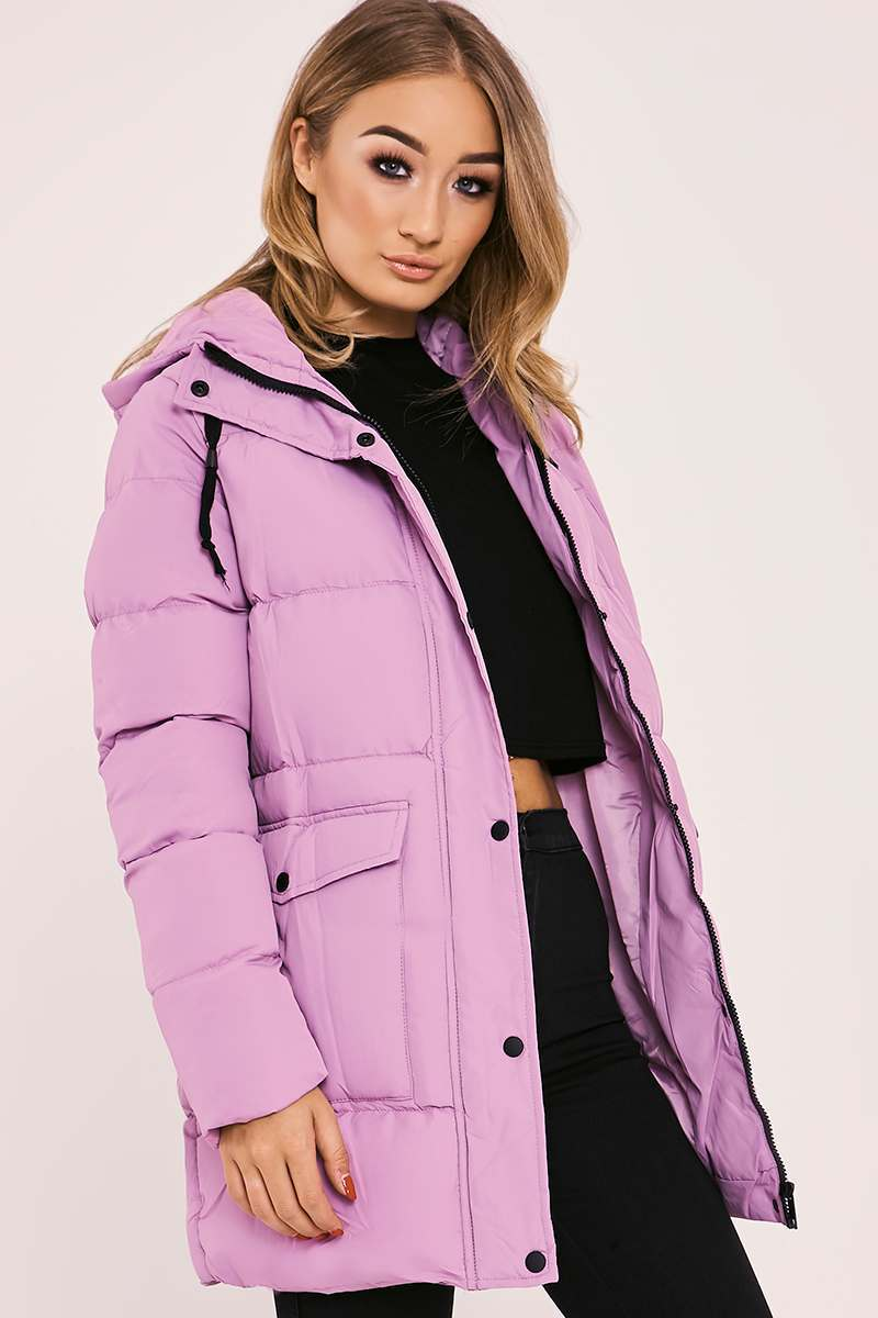 JAYLAH LILAC LONGLINE PADDED HOODED COAT