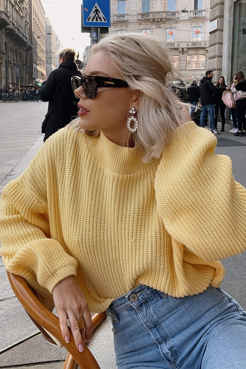 LAURA JADE YELLOW 'THE BALLOON SLEEVE' JUMPER